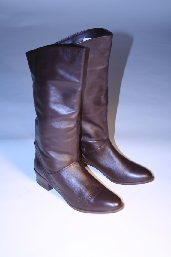 Vintage Brown Leather Tall Flat Riding Pirate Boots