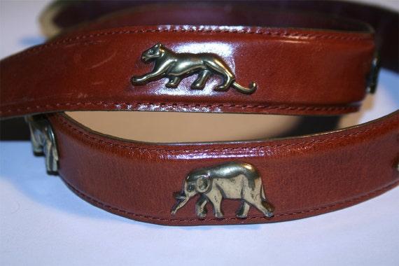 Leather & Brass Wild Animal Vintage Belt