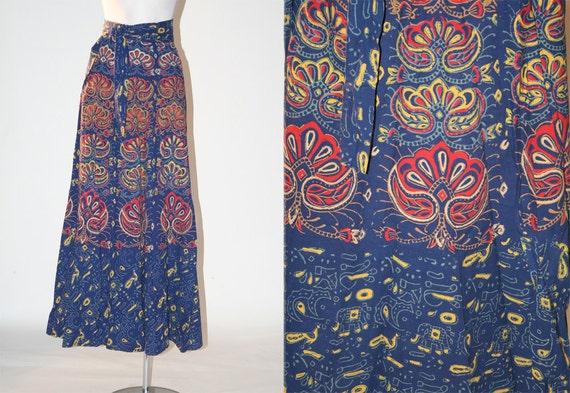 Vintage Batik Bohemian Hippie Maxi Wrap Skirt