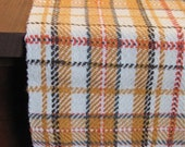 "Fall Home Decor Table Runner Autumn Gold Harvest Plaid Handwoven Cotton Thanksgiving Farmhouse Cottage Cabin November Dining 48""L x 8.5""W"