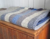 Wool Twill Camp Blanket, Handwoven Seaside Beach Cottage Rustic Cabin Farmhouse Home Decor, Nautical Stone Gray Ivory Ocean Blue Couch Throw
