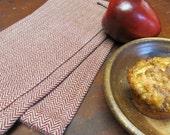 Gourmet Kitchen Chefs Towel, Handwoven Cranberry & Tan Herringbone Chevron Cotton, Traditional Cottage, Cabin, Rustic Farmhouse Home Decor