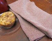 Rustic Mountain Cabin Country Home Decor Kitchen Towel, Woven Gourmet Chef Towel, Cottage Farmhouse Decor Red Cotton Hand Woven Dish Towel