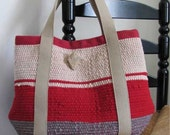 Red Tote Bag Handwoven Wool Recycled Rag Fire Red Natural & Gray Upcycled Urban Rustic Cabin Cottage Style Womens Fashion Accessory