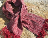 Ruby Red Statement Scarf, Rustic Cabin Chic Urban City Style Mens Womens Fashion Clothing Accessory Gift, Artisan Handwoven by Amy C. Lund