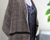 Handwoven Shrug Cape Mantelet Envelope Wrap Bolero Shawl, Beige Chenille Black Wool Crepe, Formal Fashion Special Occasion Wedding Cover Up