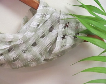 Sage Green Spring Summer Scarf, Light Lattice Lace Hand Woven Cotton Scarf Summer Beach Cottage Natural Living Yoga Fashion Style Accessory