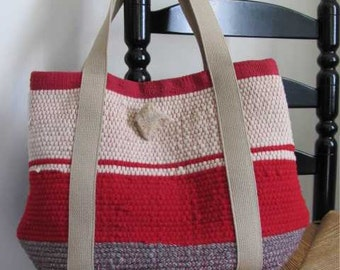 Rustic Womens Fashion Red Tote Bag, Rustic Mountain Cabin Lodge Fire Red Upcycled Fashion Accessory Hand Bag, Woven Wool Recycled Rag Bag