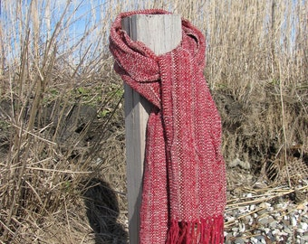 Ruby Red Woven Scarf, Handmade Rustic Cabin Urban City Winter Mens Womens Fashion Scarf Accessory Gift, Artisan Hand Woven by Amy C. Lund