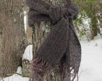 Artisan Hand Woven Winter Fall Scarf, Smoky Gray Rainbow Wool Boucle & Alpaca Scarf, Urban Rustic Country Cabin Woodland Mens Womens Fashion