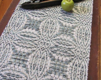 Hygge Winter Decor Rustic Farmhouse Table Runner, Hand Woven Cream White Sage Green Cotton Wool Primitive Country Home Decor Table Mat