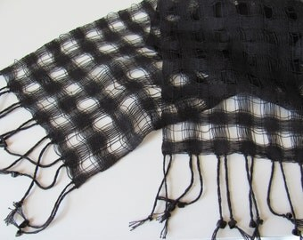 Lightweight Black Scarf, Artisan Hand Woven Cotton Lattice Cobweb Lace Scarf, Summer Autumn Fall Mens Womens French Chic Cocktail Fashion