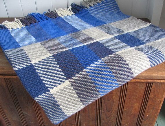 Artisan Woven Plaid Wool Twill Camp Blanket, Rustic Cabin Seaside Cottage Country Farmhouse Decor, Stone Gray Ivory Ocean Blue Couch Throw