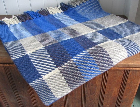 Blue Plaid Wool Blanket, Warm Couch Sofa Throw Blanket, Rustic Country Home Decor, Nautical Coastal Beach Decor Handmade Hand Woven Throw
