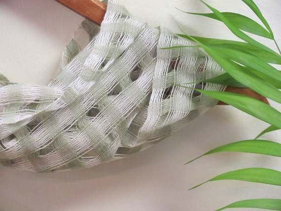 Green Summer Scarf, Womens Scarf, Beach Cottage Chic, Urban Garden Party Cocktail Yoga Fashion, Light Sage Lattice Lace Woven Cotton Scarf