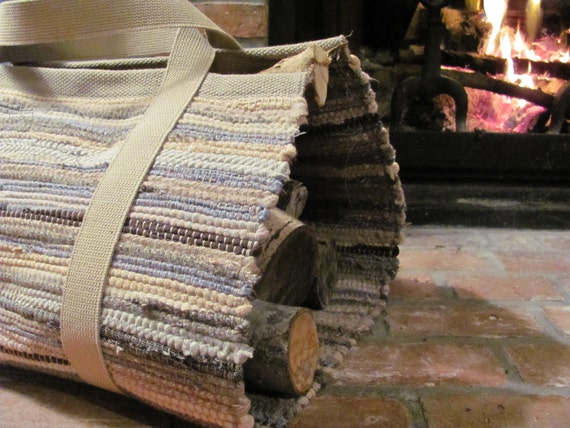 Rustic Country Farmhouse Wood Tote Log Carrier, Hand Woven Wool Mountain Cabin Decor, Fireplace Hearth Log Bag, Dad Father Guys Mens Gift