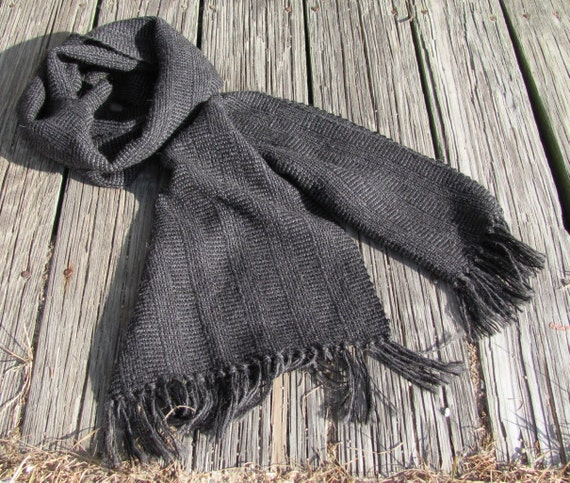 Mens Womens Fall Winter Fashion Large Long Oversized Gray Black Alpaca Scarf, Urban Rustic Country Cottage Cabin Artisan Hand Woven Wrap