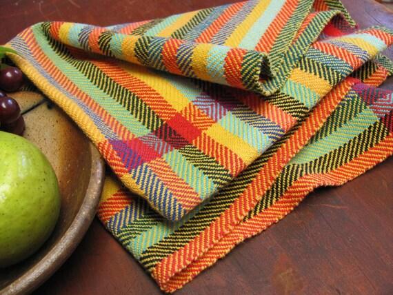 Napkin, Handwoven Cloth, Fiesta Yellow Twill Stripe Cotton, Red Diamond Border, Farmhouse, Cabin, Cottage Kitchen Gift, Picnic, Lunch Basket