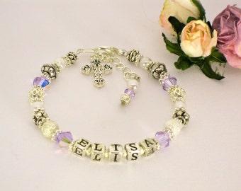 Crystal Name Bracelet, Swarovski Baptism Bracelet, Religious Christening Jewelry, First Communion Bracelet, First Communion Jewelry