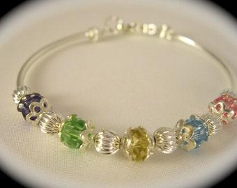 Crystal Birthstone Bracelet, Crystal Birthstone Jewelry,  Grandchild Birthstone Bracelet, Crystal Baptism  Bracelet