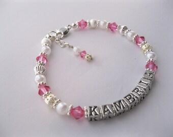Beaded Name Bracelet, Baby Name Bracelet, Crystal Birthstone Bracelet, Crystal Baptism Bracelet, First Communion Bracelet