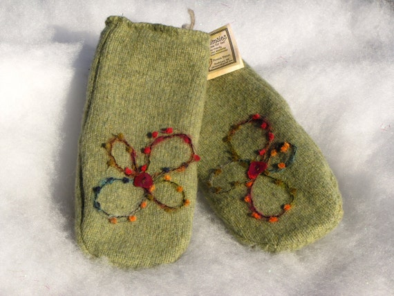 Wool Mittens - Felted Recycled Sweater - Sage Green - Felted Detail