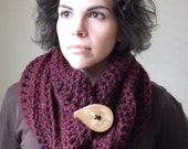 One Button Cowl in Claret - Made to Order