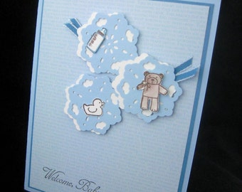 Welcome Baby Boy Handmade Card Blue New Baby Congratulations New Parents New Arrival Baby Boy