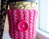 Pink Button Coffee Cozy