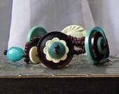 Azure Skyline Vintage Button Bracelet