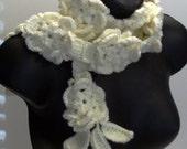 Cream Flower Scarf