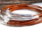 Leather Bangles ,  Copper Bangles, Bangle Bracelet , Stacking Bangles , Bracelet Set , 10 Bracelets Set , Best Seller ,  Amy Fine Design