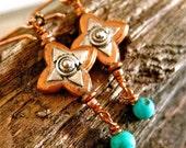 Copper Earrings Southwestern Star Silver Turquoise Dangle Earrings Amy FIne Design