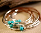 Leather Bangles Natural Leather Turquoise Bead Stacking Bracelets Amy Fine Design