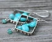 Blue Peruvian Opal Earrings Cruise Season Silver Earrings Amy Fine Design