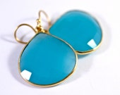 Blue Gemstone Earrings Heart Shape Earrings Fashion Trend Designer Style Amy Fine Design