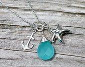 Summer Water Silver Necklace Beach Motif Charm Necklace Amy FIne Design