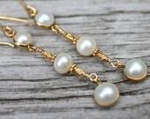 Long Pearl Earrings Gold Wrapped Pearl Drop Earrings Bridal Fashion Amy Fine Design