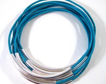 Turquoise Leather Bangles ,  Set of 10 Stacking Bracelets , Amy Fine Design