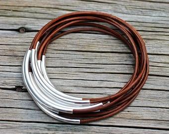 Brown Bangles , Leather Bangles ,  Bangle Set ,  Stacking Bracelets , Rustic Bangles , Bangle Bracelets , Best Seller , Amy Fine Design