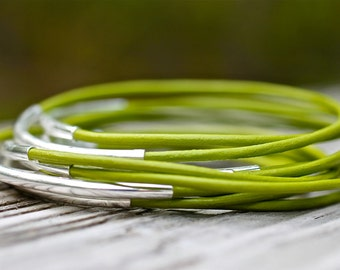 Green Leather Bangles , Green Bangles ,  Leather Bangles ,  Set of 10 , Leather Bracelets , Bangle Bracelets ,  Amy Fine Design