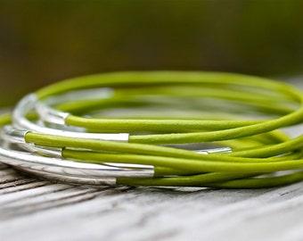 Green Leather Bangles , Green Bangles ,  Leather Bangles ,  Set of 10 , Leather Bracelets , Bangle Bracelets ,  Amy Fine Design