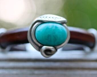 Leather Bracelet Wide Bangle Turquoise Bracelet Blue Bracelet Silver Jewelry Leather Bangle Gift For Her Jewelry Gift Leather Gift Hipster