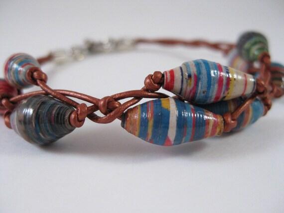 Paper Bead Copper Leather Bracelet