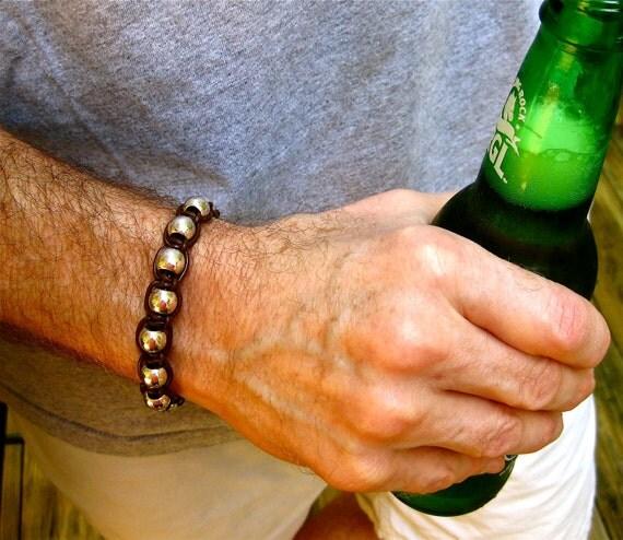 Brown Leather Bracelet , Silver Bead Bangle , Chunky Men's Bracelet , Leather Bracelet , Mens Bracelet , Amy FIne Design