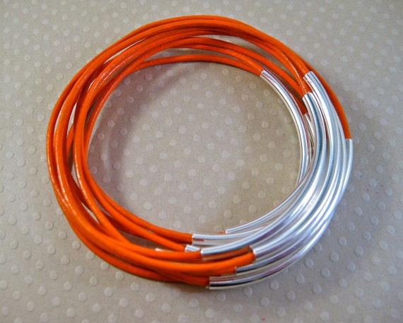 Celosia Leather Bangle Bracelets , Set of 10 Stacking Bangle Bracelets , Orange Bangles , Amy Fine Design