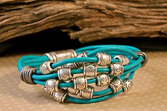 Blue Turquoise Leather Bracelet Multi Strand Silver Bead Summer Cuff Bracelet Amy Fine Design