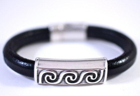 Black Leather Bangle Heavy Leather Large Silver Bead Chunky Unisex Bracelet Amy Fine Design