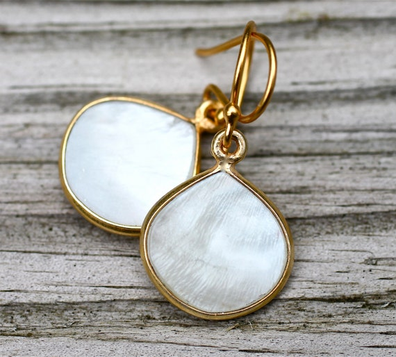 SALE Black Friday/Cyber Monday...White Mother of Pearl Earrings Classic Teardrop Earrings Bridal Jewelry Amy Fine Design