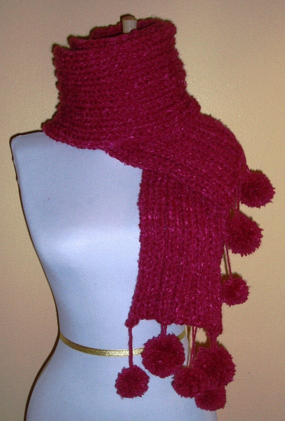 Knitting Pattern For Scarf With Pom Pom Wool : Items similar to Sangria Pom Pom Scarf Silk Wool Blend on Etsy